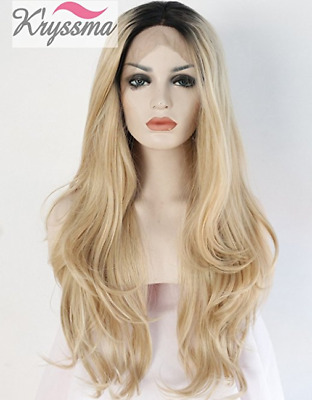 K'ryssma Ombre Blonde Wig Synthetic Lace Front Wig Heat Resistant 22 Inch