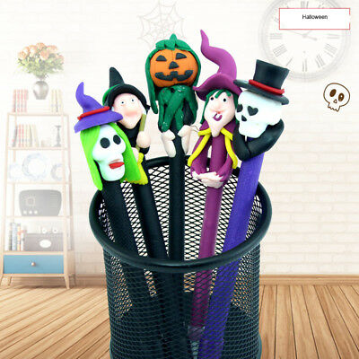 Halloween Party Soft Pottery Ballpoint Pen Cartoon Witch Ghosts Pumpkin Pen Gift