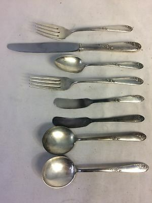 8pc Set Lot Antique Vintage Lunt Sterling Silver Sweetheart Rose Silverware 292g