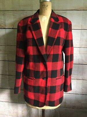 ZigZag Brand Vintage Ladies Casual Blazer Cigarette Jacket Red Hunter Check Wool