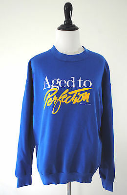 True Vintage Aged To Perfection Sweatshirt Large 90s Oversized 50 50 Hipster L