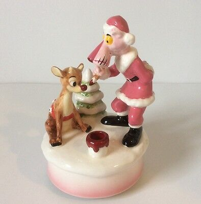 Pink Panther Music Box Sleigh Ride Figure Rudolph 1982 Royal Orleans VTG  TX11