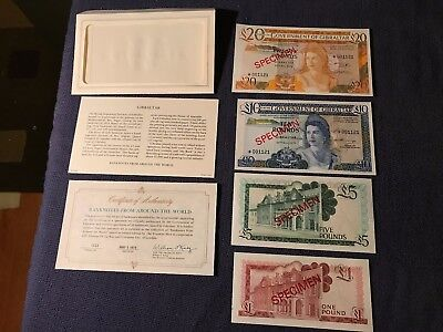 Specimen Bank Notes-1975 -Gibraltar-20-10-5-1 and COA-likely uncirculated