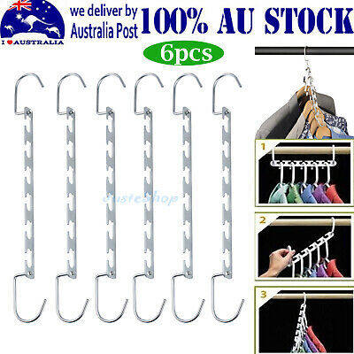 6x MULTI FUNCTION CLOTHES HANGERS SPACE SAVING CLOSET MAGIC WONDER RACK AU