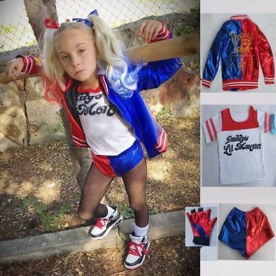 4PCS Set Suicide Squad Harley Quinn Girls Kids Cosplay Fancy Dress Costume Suit