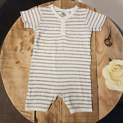 Baby Boy BEBE White & Grey Striped Short Sleeve One Piece Outfit Summer Size 0