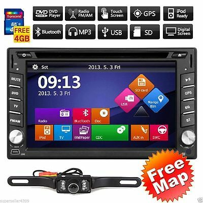 """Backup Camera+Double 2Din Windows Car Stereo Radio 6.2"""" Touch GPS USB DVD InDash"""