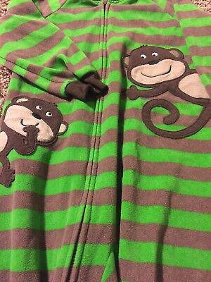 CARTER'S Boy's Toddler footed Pajamas Size 2T brown green monkeys sleeper