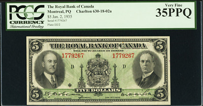 1935 $5 Dollars ROYAL BANK of CANADA PCGS 35 PPQ CAN-630-18-02a
