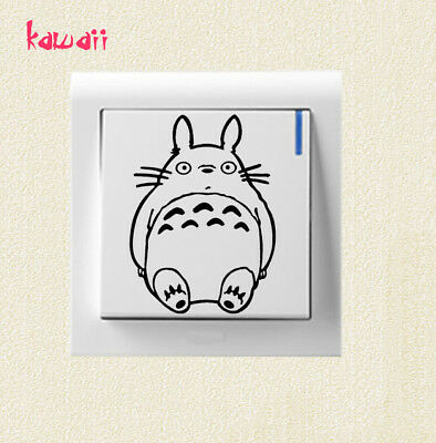 Kawaii Totoro Switch Light Cover Sticker Cute Wall Decal Kids Anime Wall Decor 2