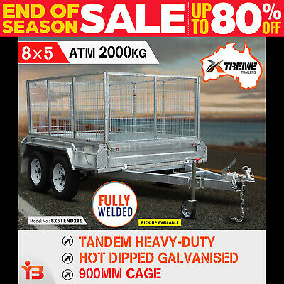 New 8x5 Tandem Heavy-Duty Full Welded Galvanised Box Trailer With 900mm Cage