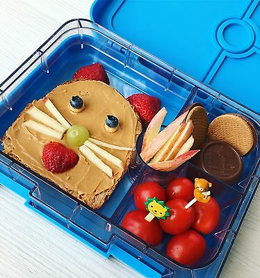Leakproof Bento Lunch box for Kids or Adults BPA Free Blue 4compartments