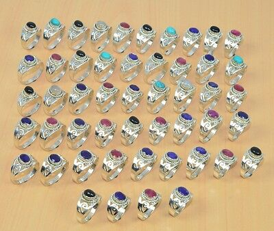 Wholesale 50Pc 925 Solid Sterling Silver Natural Turquoise & Mix Stone Ring Lot