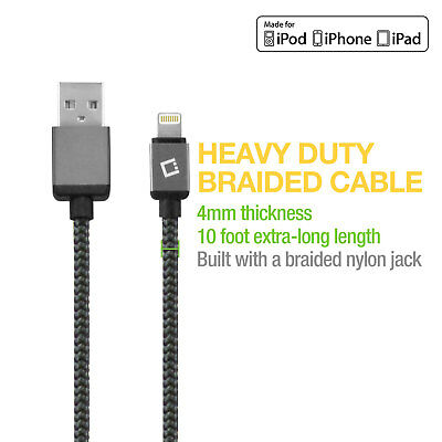 10ft Apple Certified Nylon Braided Lightning Charger USB Cable for iPhone iPad