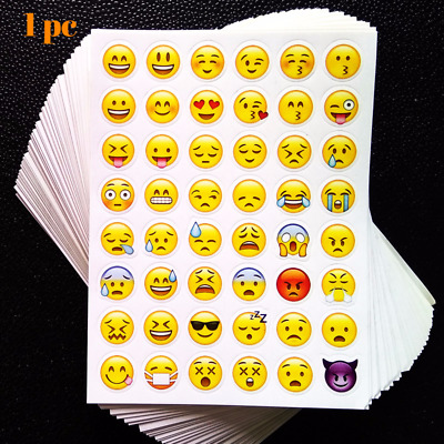 1 sheet 3D 48 Emoji Stickers Emoticon Cute Stickers Kawaii Decal Scrapbooking