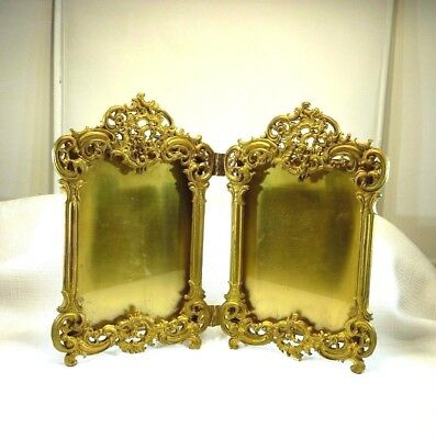 Collectable Vintage Ormolu Royal M MFG.CO Gold Tone Double Hinged Photo Frame
