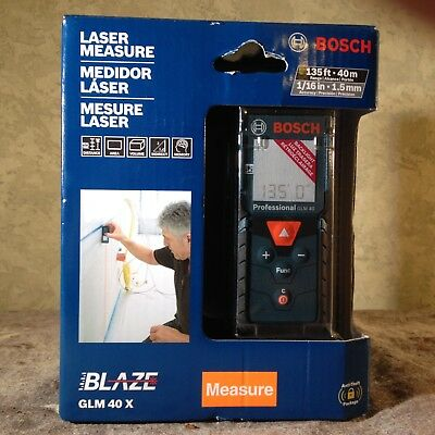 "Bosch Blaze GLM 40X Laser Measure accurate at 1/16"" to 135 feet NIB"