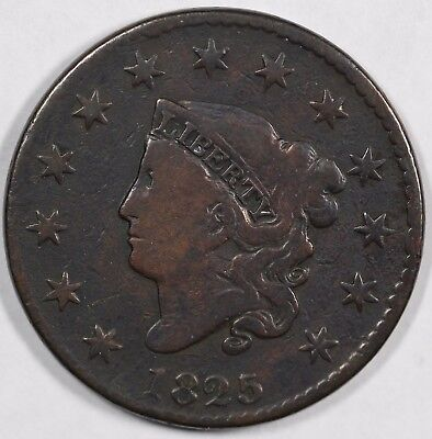 1825 1c Coronet or Matron Head Large Cent UNSLABBED