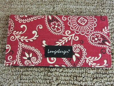 Longaberger Red BANDANNA Checkbook Cover NWT