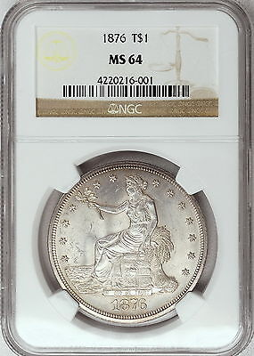 1876 NGC MS64 Trade Dollar, a SCARCE beautiful strongly struck lustrous near gem