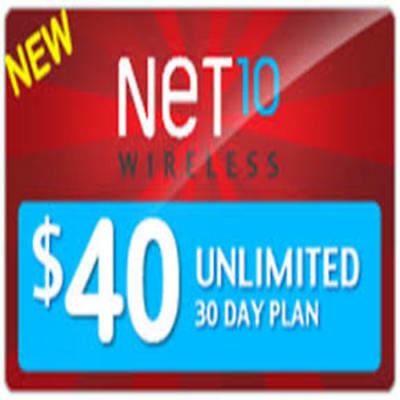 NET10 Wireless $40 Unlimited Monthly Plan Talk, Text, 4GB Data, Same Day Refill!