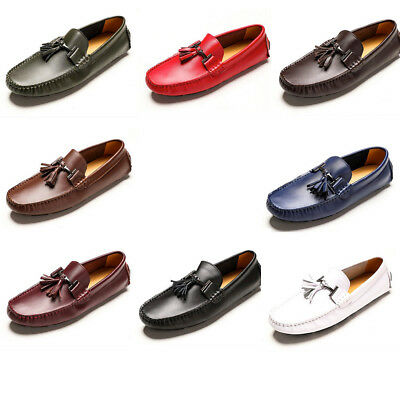 US Size 5-12 New Genuine Leather Mens Tassel Driving Loafers Flats Slip On Shoes