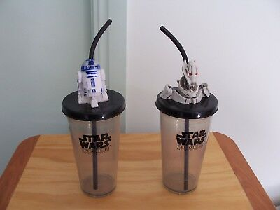 STAR WARS CUPS x 2. WITH STRAW AND CHARACTER ON LID. VERY COLLECTIBLE!