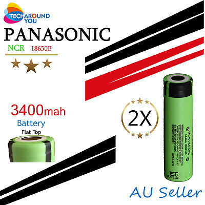 2x Panasonic NCR18650B 3400mAh Lithium Li-Ion Rechargeable battery flashlight