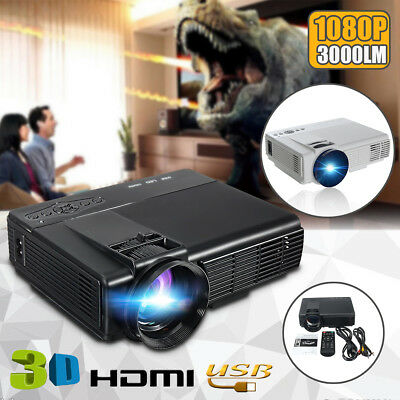 3000 Lumens Portable 1080P HD LED Multimedia Projector Home Cinema Theater USB