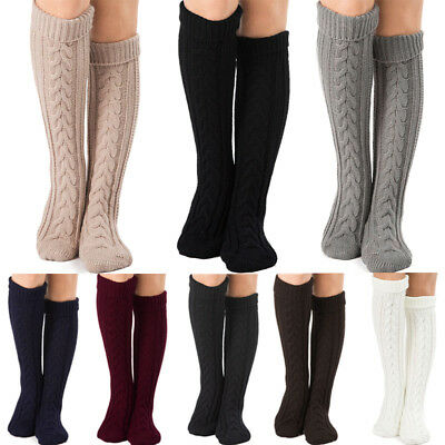 Women Winter Cable Knit Knee High Long Boot Thigh-High Warm Socks Stockings UK