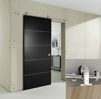 European Modern Stainless Steel Sliding Barn Wood Door Slab Closet Hardware Set