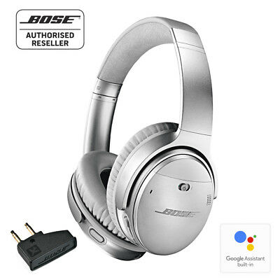 BOSE QC35 ii Wireless Noise Cancelling Headphones SILVER with airline adapter