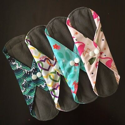 Reusable Menstrual Pad - ONE pc. soft charcoal bamboo pad more prints available