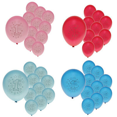 10pcs Baby 1st Birthday Star or Heart Printed Latex Balloons Party Decor 12 inch