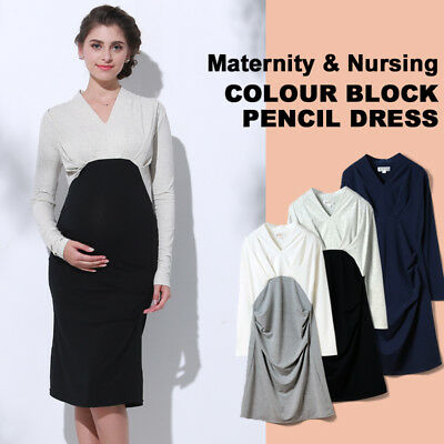 Vestito premaman allattamento a maniche lunghe Nursing long sleeve dress SO6077