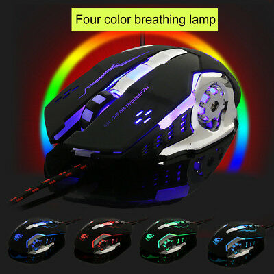 Wired LED Light 4000DPI Optical Usb Ergonomic Pro Gamer Gaming Mouse Metal Plate