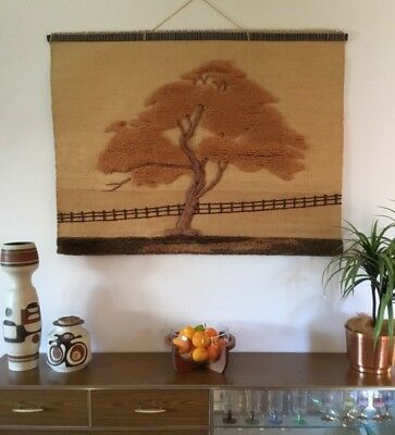 VINTAGE 70's 80's Earthy MEHER WOVEN JUTE WALL HANGING Tree Of Life BOHO TEXTILE