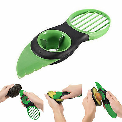 New 3-in-1 Avocado Slicer Green Plastic Splits Slices Blade Pitter Kitchen Tools