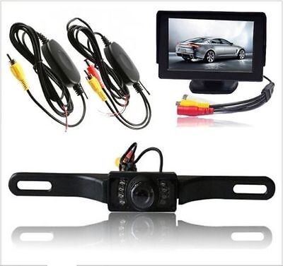"4.3"" TFT LCD Monitor + Wireless Car Backup Camera Rear View System Night Vision"