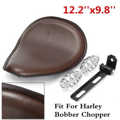 3'' Spring Solo Bracket Motorcycle Leather Seat For Harley Chopper Bobber Brown