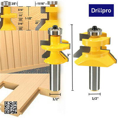 Drillpro 1/2'' Shank Matched Tongue & Groove V- Notch Router Bit Woodworking Set