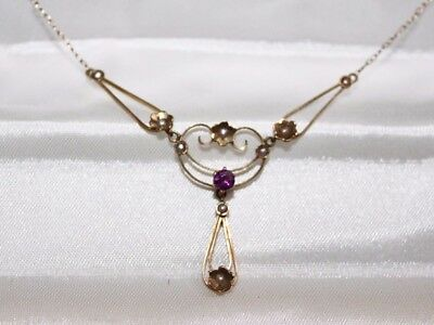 VICTORIAN 14k GOLD Seed Pearl & AMETHYST Lavaliere NECKLACE *** NEW PICS ***
