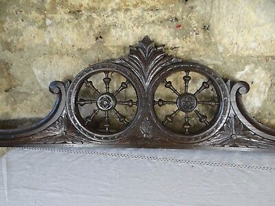 """43"""" French Antique Breton Pediment Chestnut Wood Salvage From Brittany"""