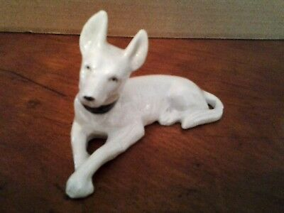 Dog Figurine White Ceramic Made in Japan 5""
