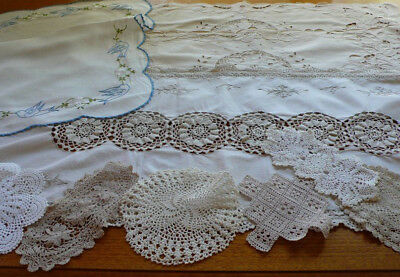 Crochet Lace & Cut Work Runners Bird Embroidered Tray Cloth & 6 Lace Doilies