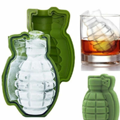 KD_ Shape 3D Grenade Ice Cube Silicone Mold Maker Bar Party Trays Mold Tool Ne