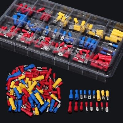 120Pcs Electrical Wire Connector Assorted Terminal Crimp Insulated Spade Set Kit