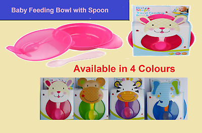 First Steps Travel Baby Feeding Bowl With Spoon and Lid Blue Pink Purple Green