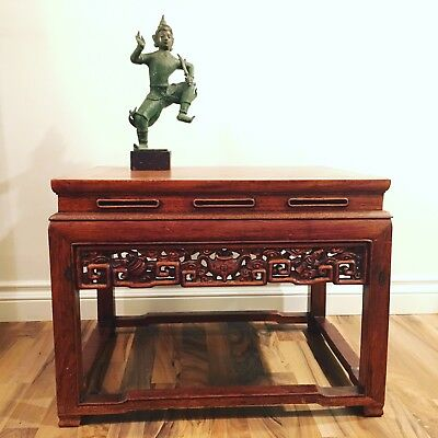 """Vintage Chinese Carved Rosewood Side End Table 25.5"""" W x 18.5"""" D"""