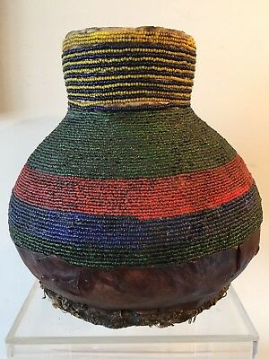 Vintage African Glass Beaded Leather Gourd Tribal Art Container 11.75""